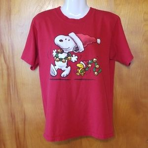 Peanuts Christmas T-Shirt, Snoopy, Red, Medium